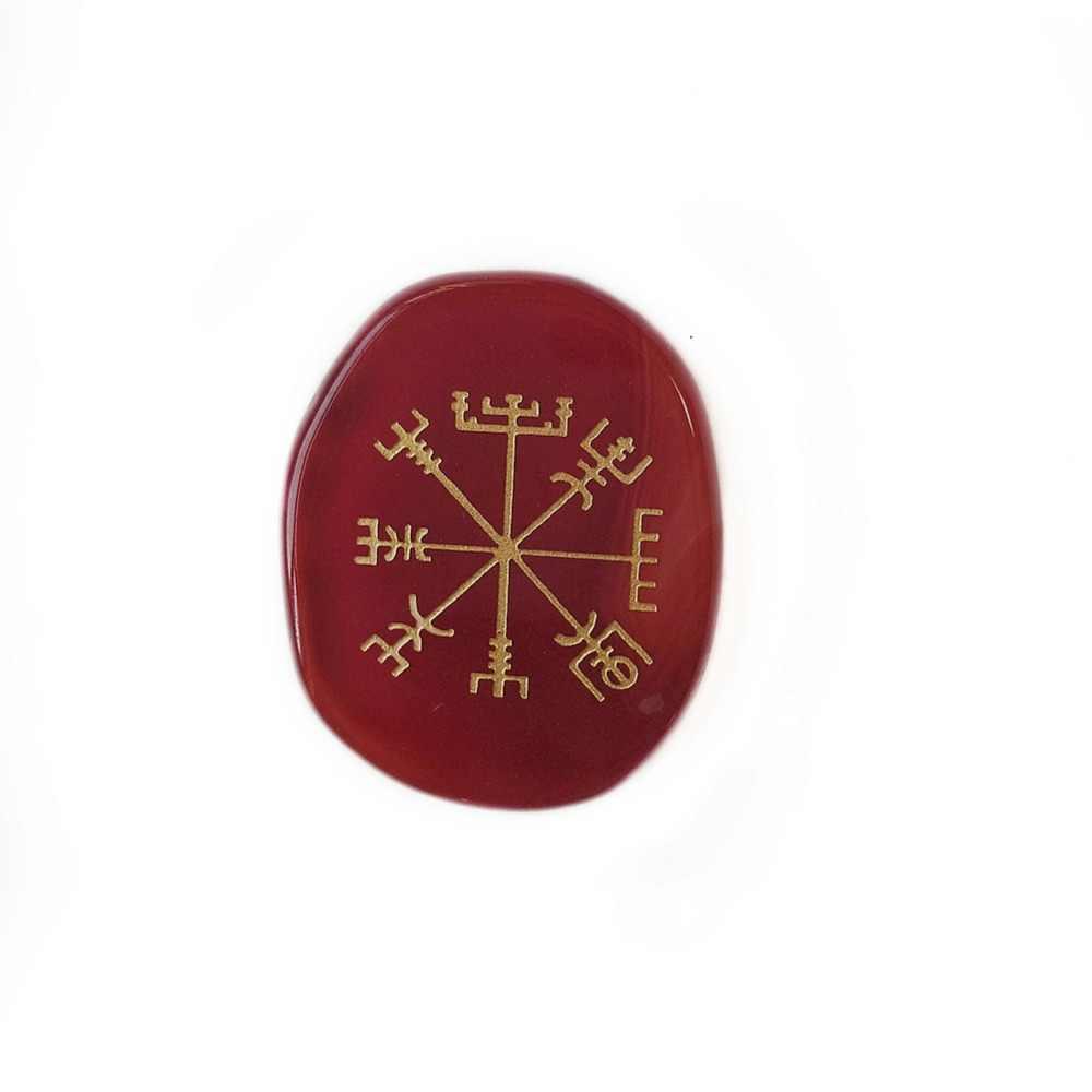 ธรรมชาติสีแดง Carnelian Agate หินปาล์มขนาดใหญ่แกะสลัก Vegvisir Viking เข็มทิศ Rune สัญลักษณ์ Reiki Healing คริสตัลขายส่ง