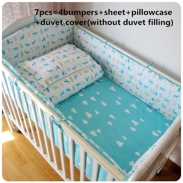 Promotion! 6/7PCS baby bedding set cotton curtain crib bumper baby cot sets baby bed , 120*60/120*70cm