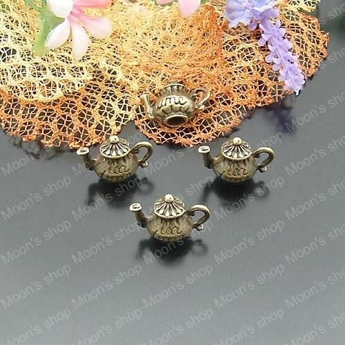 Wholesale Antique Bronze 12*15mm Teapot Alloy Charms Pendants DIY Findings 30 pieces(JM953)
