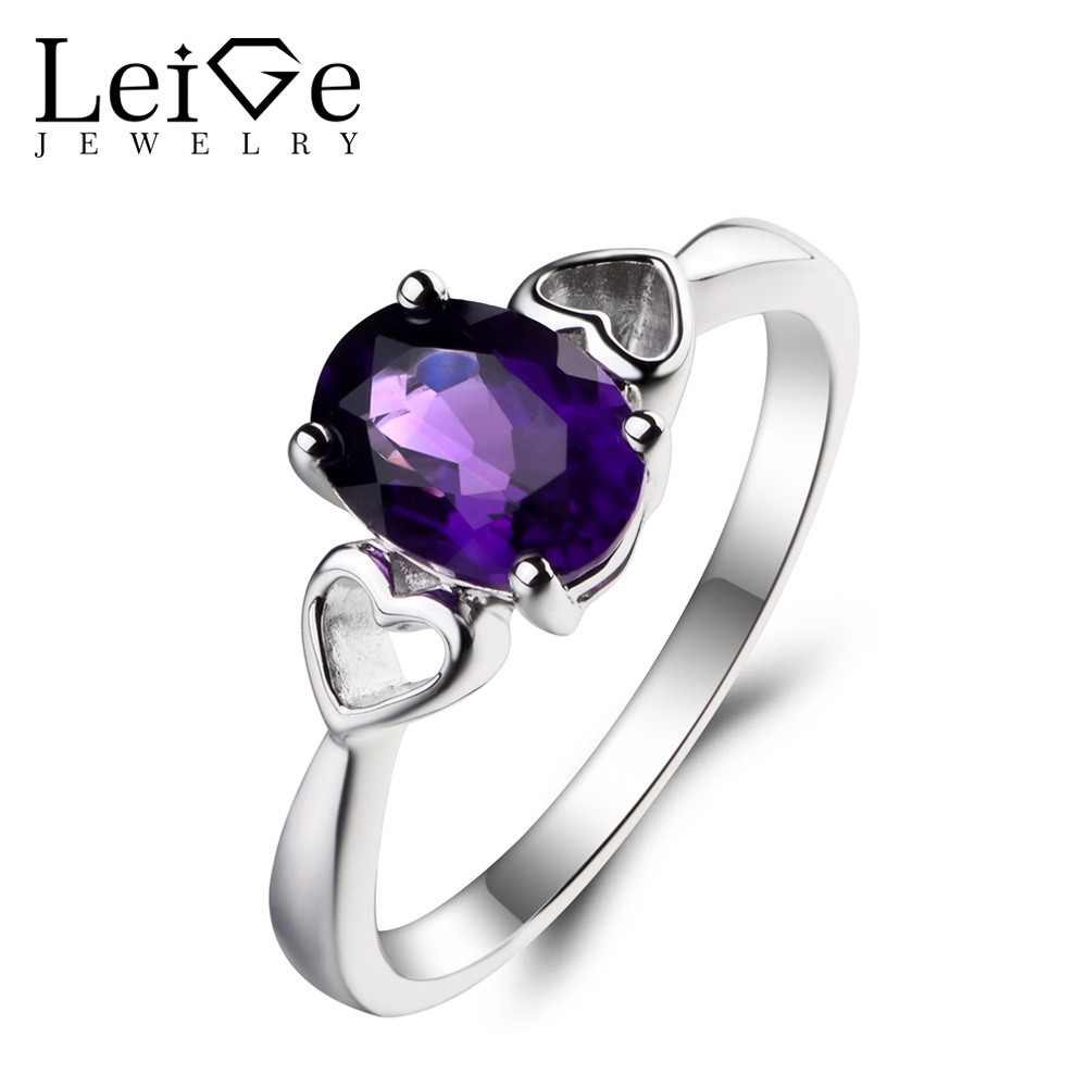 Leige Jewelry Solitaire Ring Natural Amethyst Ring Wedding Ring Purple Gemstone February Birthstone 925 Sterling Silver Ring jewelrypalace trillion 1 1ct natural purple amethyst solitaire ring 100% 925 sterling silver women fashion jewelry big promotion