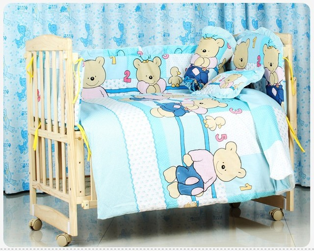 Promotion! 10PCS baby crib quilt, baby cradle crib bedding baby comforter crib set,unpick(bumpers+matress+pillow+duvet)