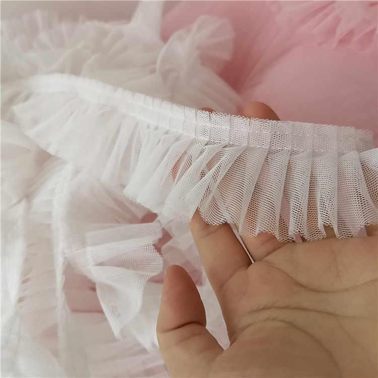 5CM de ancho doble capas 3D plisado tela de encaje volante Trim collar bordado cinta ropa, costura falda empalme Material