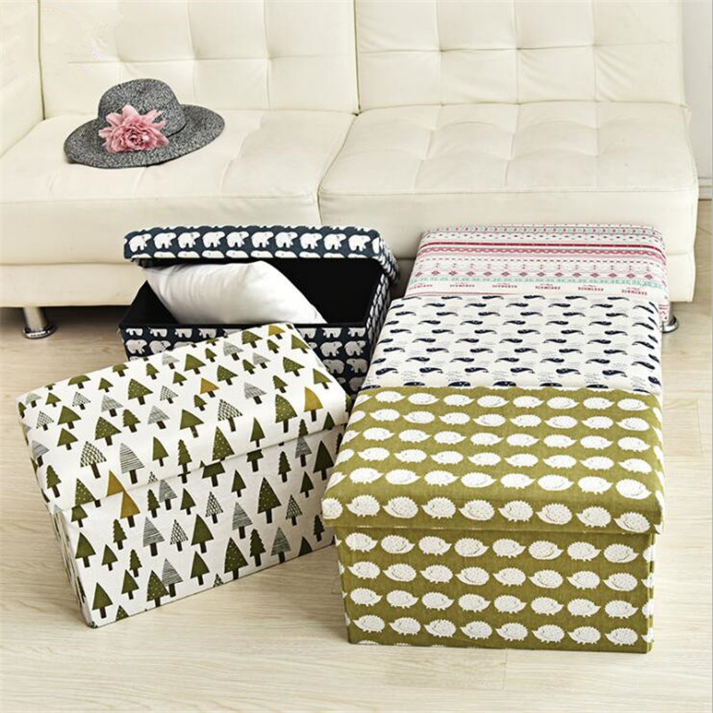 Multi-function Cotton And Linen Folding Storage Stool Sit Footstool Shoes Stool Storage Box Organizer Home Decoration