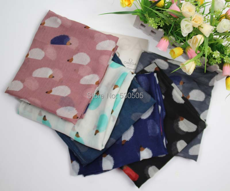 Hedgehog Print   Scarf     Wrap   Shawl Women's Accessories   Scarves   100pcs/lot Free Shipping