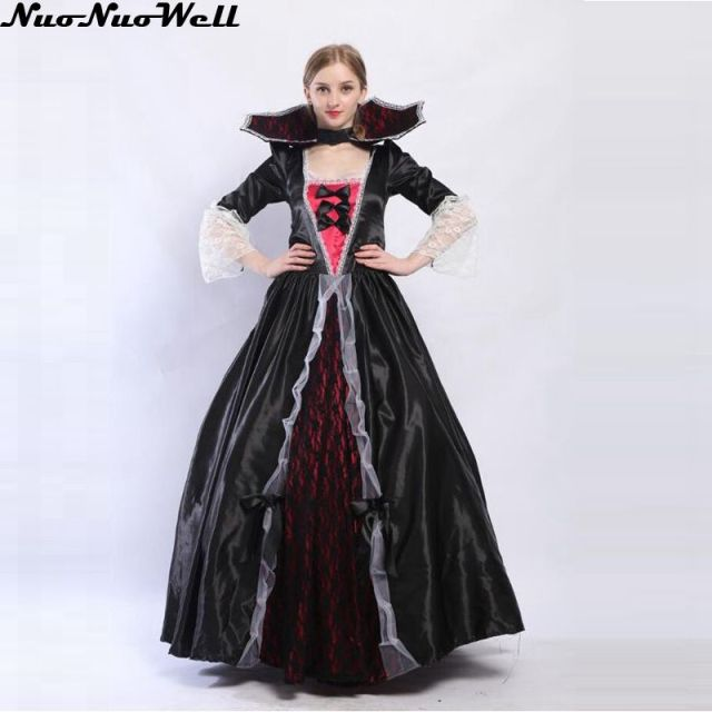deluxe halloween costume adult female vampire queen costumes zombie queen long dress vendetta mask party joker