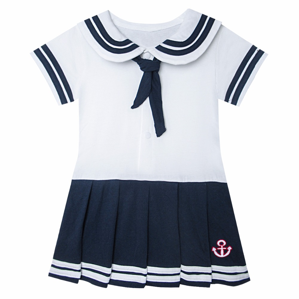 Newborn Sailor Bodysuit For Baby Girls Summer Clothes With Tie Infant Anchor Seaman Jumpsuit Dress Ropa Body Bebe One Piece ribbon tie shoulder bodysuit