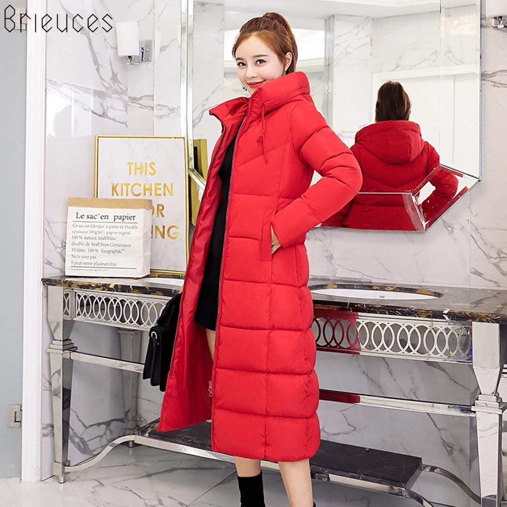 Brieuces 2018 New Fashion Women Winter Jacket Warm Hooded Female Womens Winter Coat Long Parkas Thicken Down Cotton Outwear