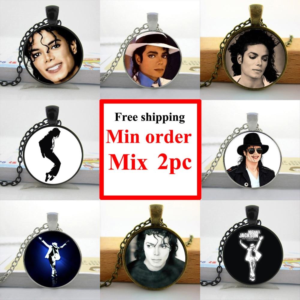 2016 Michael Jackson Halskette Moonwalk Lange Anhänger Fans Lieblings Marke Stern Glaskuppel Halskette Hz1