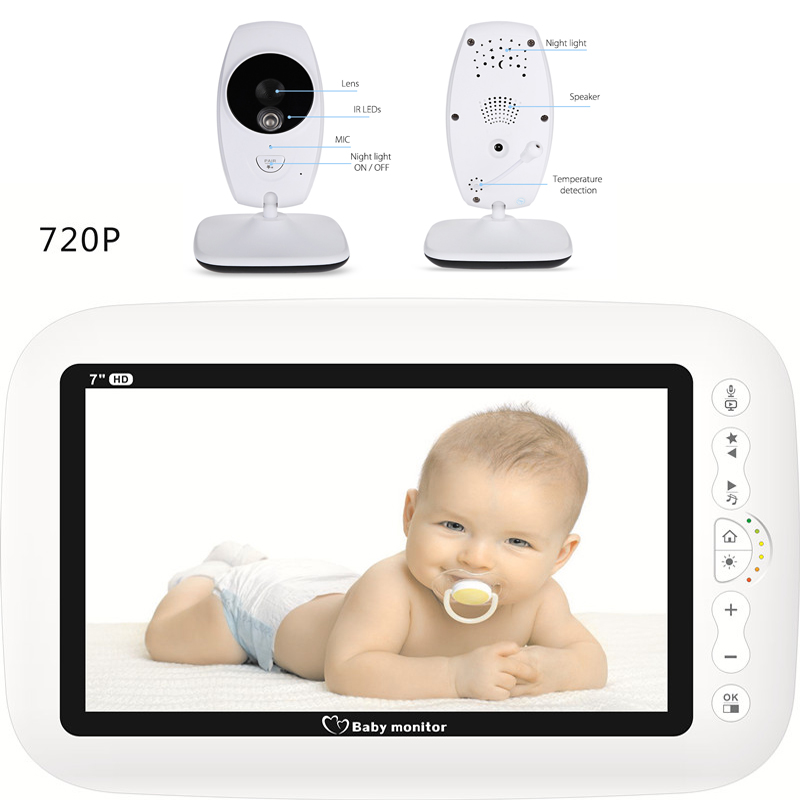 Image 3 - MBOSS 7.0inch Baby Monitor 720P HD Wireless Color Baby Monitor With Night Vision Camera Lullabies Support Split Screen-in Baby Monitors from Security & Protection