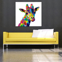 Best New Colorful Abstract Giraffe Painting Hand Painted Canvas Oil Painting Modern Home Decor Wall Art Funny Animal Pictures(China)