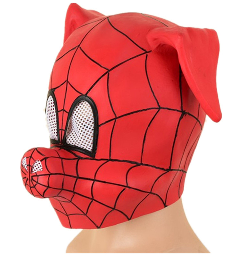 New Marvel Spider Pig Hood Parallel Universe Spider Mask Cosplay Adult New Creative Pig Head Spider Man Latex Hood