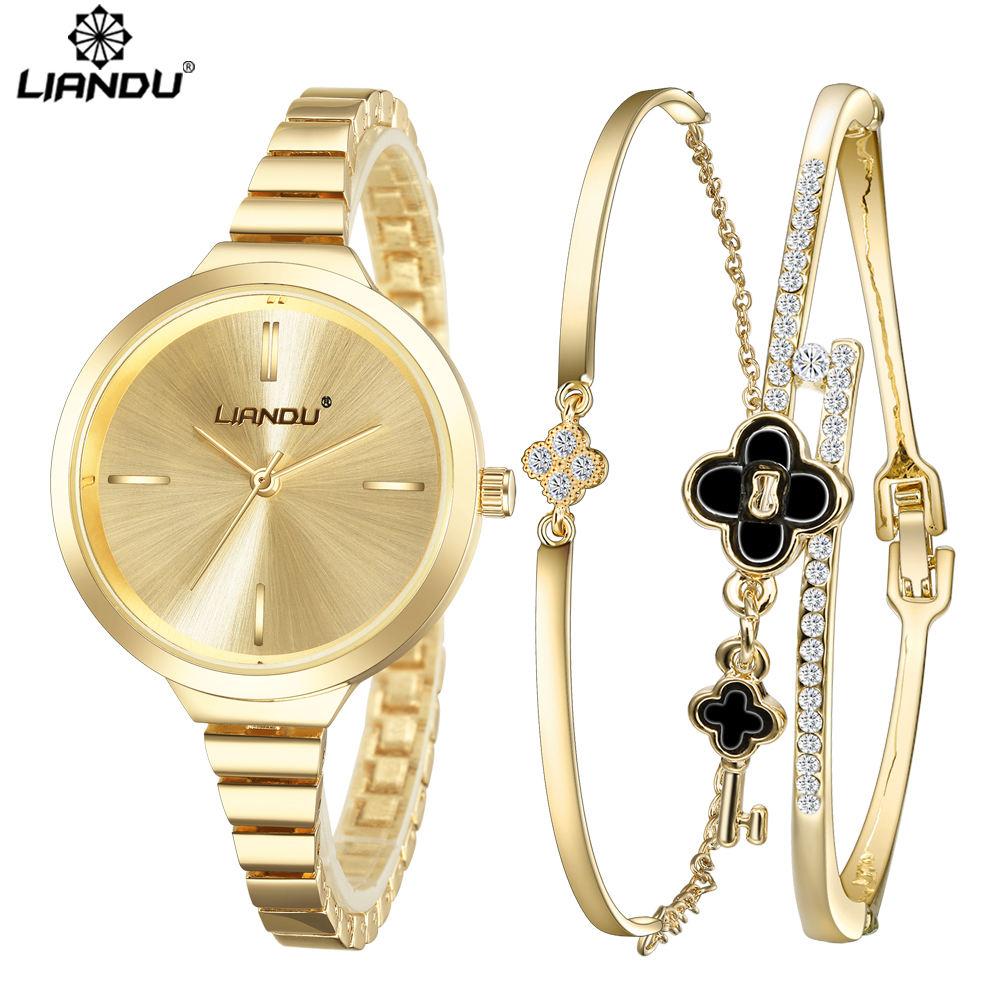 Prix pour LIANDU Diamant Or Femmes Montres De Luxe de Haute Qualité Montre Femme 2016 Robe Femme Horloge Femme Quartz Dames Montre-Bracelet fixé