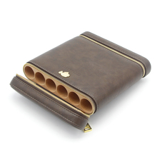 COHIBA Cigar Humidor Cedar Wood Travel Case 6 Tube Portable Box with Humidifier