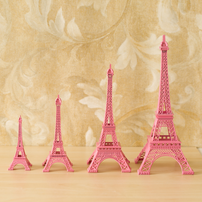 Special Romantic Pink France Paris Tower Model Desk Ornament Home Decoration Photography Props Girl Friend Gifts in Statues Sculptures from Home Garden
