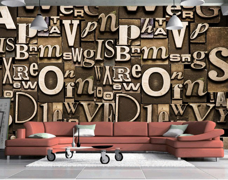 ShineHome-Large Mural Letter European Photo Wallpaper For Walls In Rolls 3D Modern Decorative Coffee Cafe Wall Paper For Room shinehome nature banana leaf wallpaper 3d photo wallpaper rolls for walls 3 d livingroom wallpapers mural roll paper background