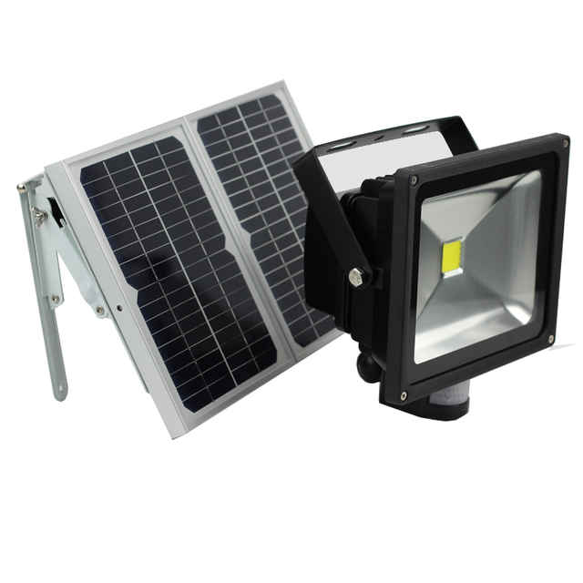 50W Solar Motion Sensor Light Outdoor Led PIR Infrared Motion Security Light  With Alarm Device LED