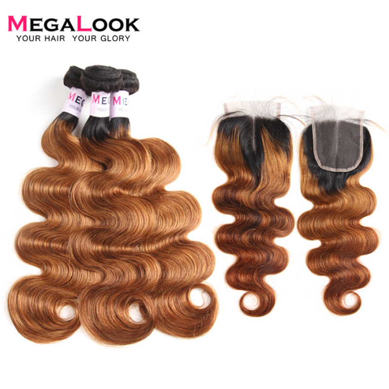 Megalook 1B/30 Peruvian Body Wave Hair Bundles With Closure Remy Ombre Bundles With Closure