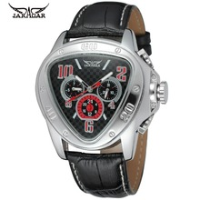 цена на Fashion Triangle Design JARAGAR Men Luxury Brand Watch Military Leather Tourbillion Automatic Mechanical Wristwatches Gift Box