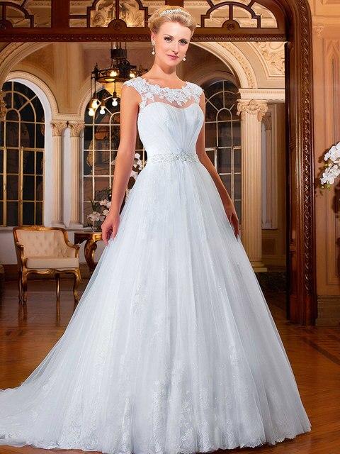 vestidos de novia 2017 vestidos largos de la boda scoop cap manga
