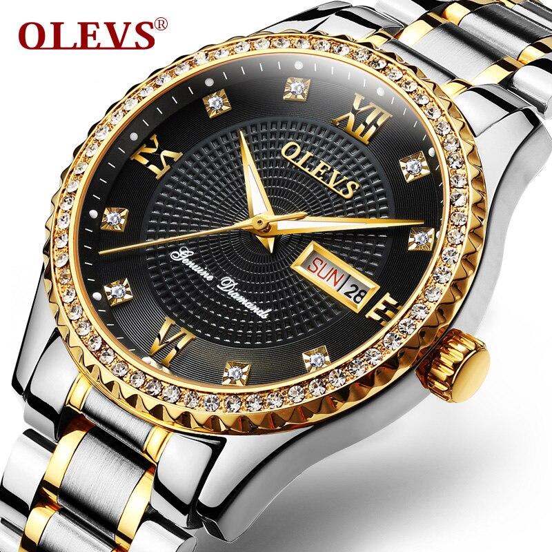 OLEVS Luminous Men Quartz Wristwatch Clock Auto Date Calendar Gold Dial Waterproof Male Watches Stainless Steel Band Watch G6618