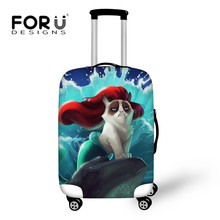 FORUDESIGNS Tumblr Style Galaxy Chat Piza Impression Bagages Valise Couverture Antifouling Chariot Cas Voyage Accessoires Bagages Poussière