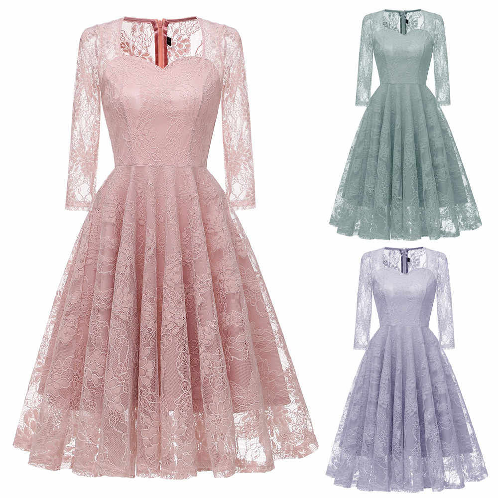 09515f8d64e3c Women Vintage Princess Floral Lace Cocktail V-Neck Party Long Dress Aline  Swing Dress Female