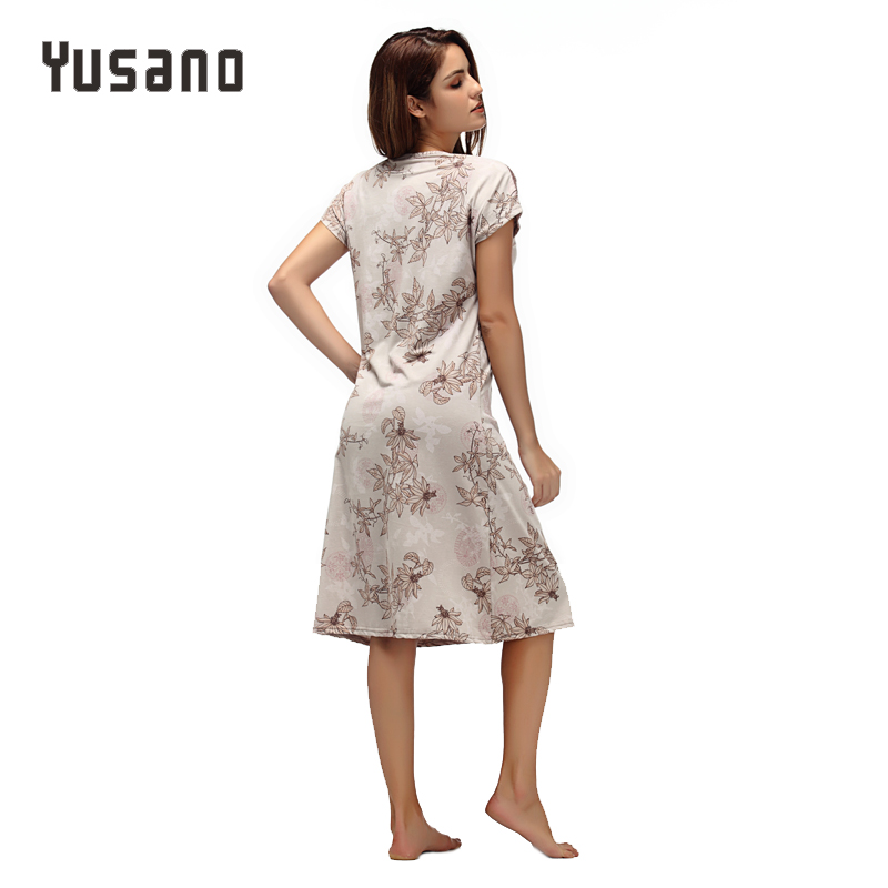 Image 2 - Yusano Women Nightgown Cotton Nighty Lace Nightshirt Short Sleeve Nightdress O Neck Homeweara Clothes Flora Print Sleep Dress-in Nightgowns & Sleepshirts from Underwear & Sleepwears