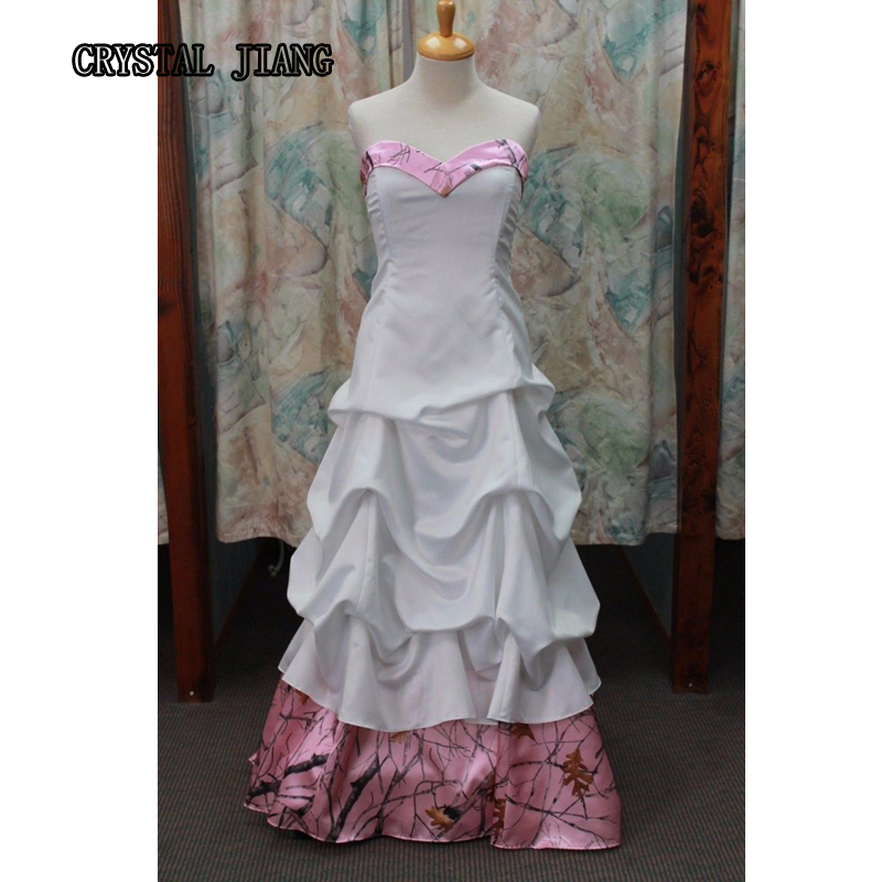 Pink Camo Trumpet Dresses Wedding Real Tree Sweetheart Pick-up Bridal Gown Lace-up Country Ideas Customized