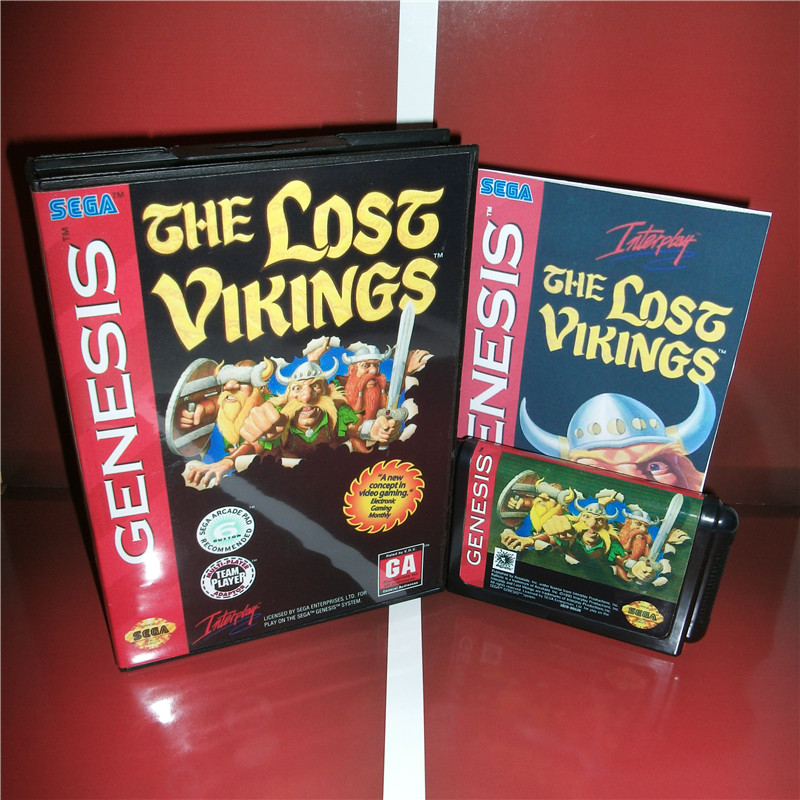 The Lost Vikings US Cover with box and manual For Sega Megadrive Genesis Video Game Console 16 bit MD card