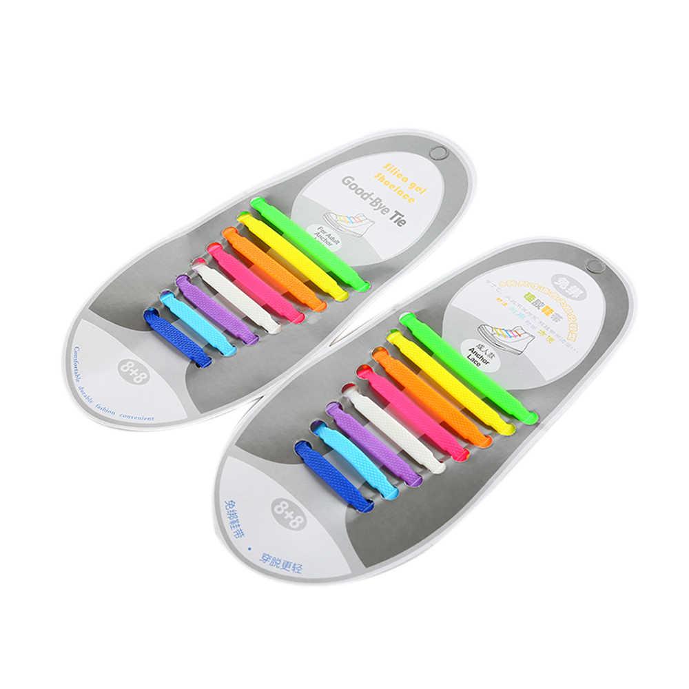 เด็กที่มีสีสันรองเท้า 1 ชุด 12/16 pcs ซิลิโคน Shoelaces ยืดหยุ่นไม่มี Tie ยางลูกไม้สำหรับเด็กผู้ใหญ่รองเท้าผ้าใบ