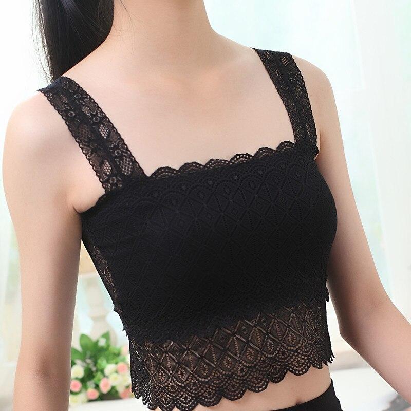 Sexy Women Lace Bra Floral V-Neck Vest Mesh Bra Bralette Bustier Crop   Top     Tank     Tops   push up lingerie plus size XXL