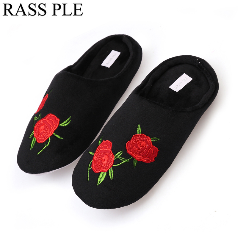 RASS PLE Soft Coral Velvet Floor Home Indoor Slippers Quiet Cotton Fluffy  Slippers For Women Comfortable Shoes Black 3a67f8afe5c4