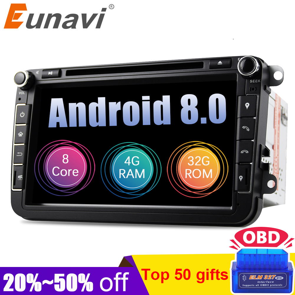 Eunavi Android 8.0 Octa Core 4GB RAM Car DVD for VW Passat CC Polo GOLF 5 6 Touran EOS T5 Sharan Jetta Tiguan GPS Radio Seat A mydean 3004 2vw для vw golf jetta passat tiguan touran amarok transporter t5 caravelle t5