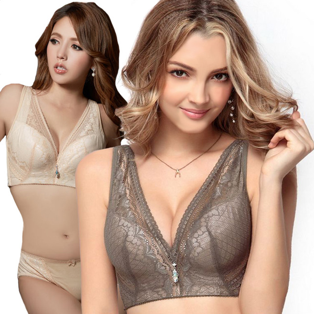Sexy lace plus size bra and panty set for women luxury intimates deep v neck push up underwear bra set sostenes mujer sujetador