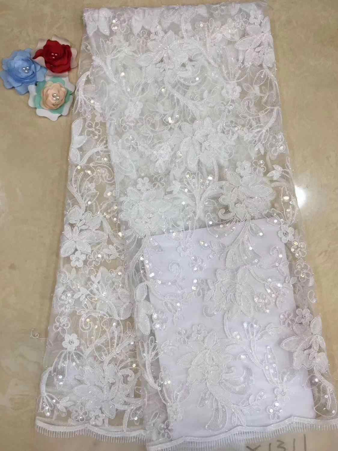 2019 Big floral embroidery pure white french lace Guipure solid African tulle fabric High Quality Soft Skin Healthy 5 yards F6J