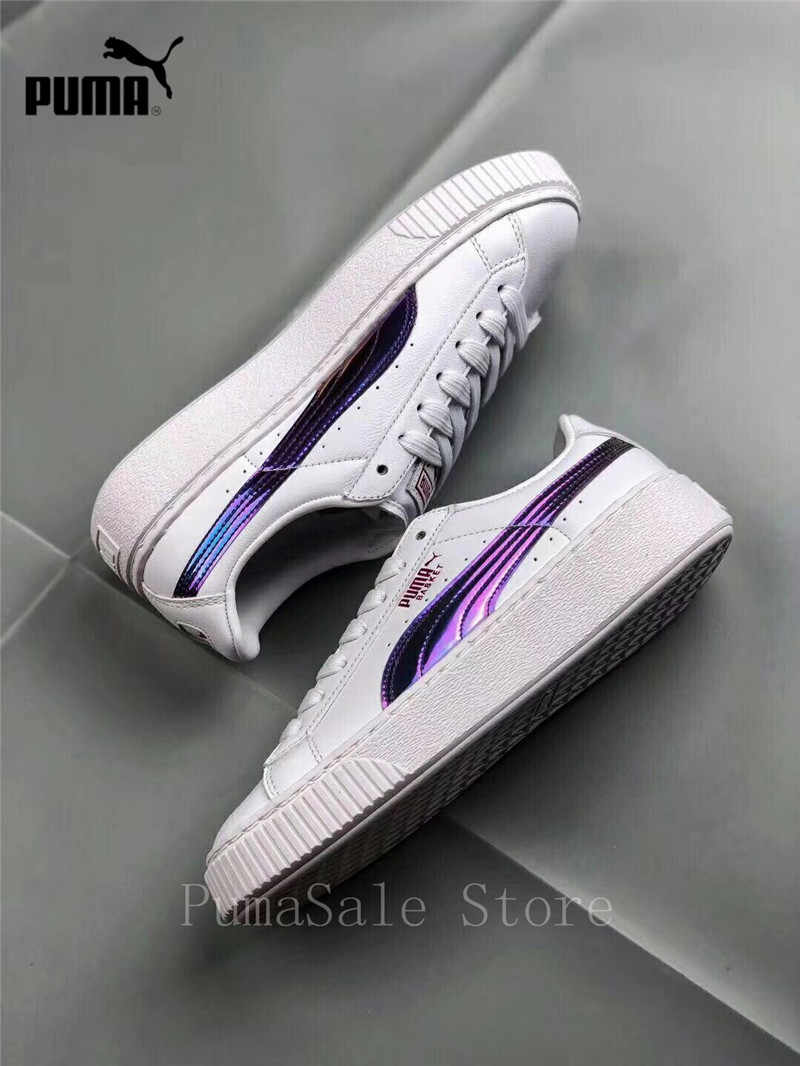 abeae63cd0 Puma Basket Platform Rainbow Women's Badminton Shoes 362223-05 Purple/White  Color Rihanna Shoes Wn's Sneaker Size EUR35.5-39
