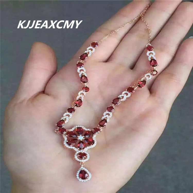 KJJEAXCMY boutique jewelry, Natural garnet female necklace, inlaid jewelry wholesale, S925 silver pure silver s925 pure silver personality female models new beeswax