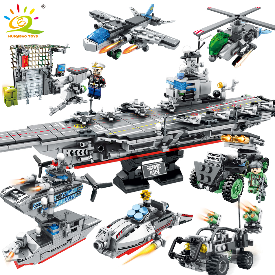 836pcs 8in1 Military USS Warship Building Blocks Toys For Children Compatible Legoed technic Army Truck Helicopter DIY bricks sluban 883pcs military series army navy warship model building blocks cruiser plane carrier bricks gift toys for children