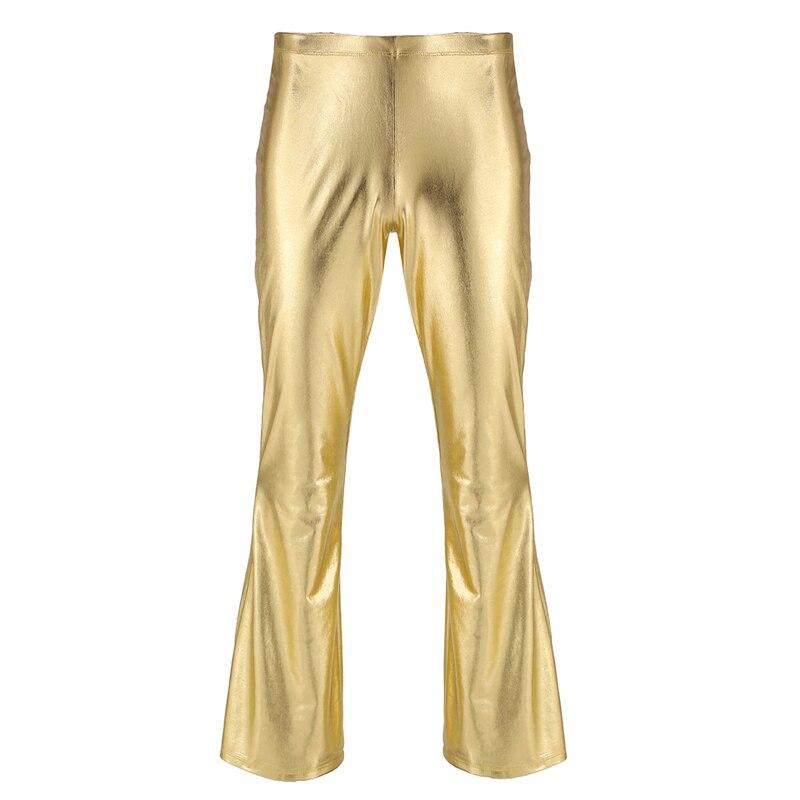 YiZYiF Men Shiny Metallic Disco Pants Bell Bottom Flared Long Pants Dude Costume Trousers Men's Flare Pants Flared Bell Pants 2