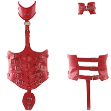 6590c5ae84d Red Body PU Leather Harness Set Torture Cage Bra Belt Sexy Lingerie Fetish  for Women Halloween