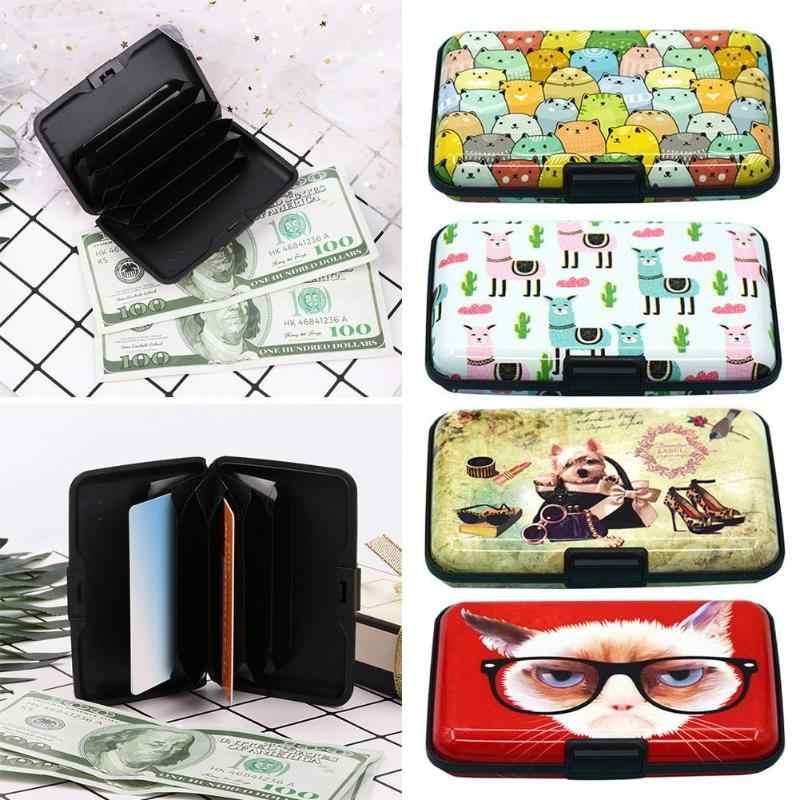 Mode Vrouwen Kleurendruk RFID Anti-diefstal Visitekaartje Doos Creditcard Pocket Vrouwelijke Meisjes Portemonnee Houder Carteira Feminina