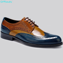 Italian Luxury Men Formal Brogue Shoes Genuine Leather Quality Cow Blue Retro Two Colors Lace Up Dress