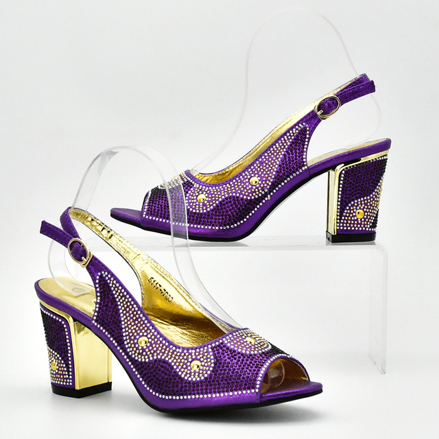 New Arrival Purple Color Shoes and Bag Set African Sets 2018 Italian Ladies Shoes and Bag To Match Set Decorated with Rhinestone