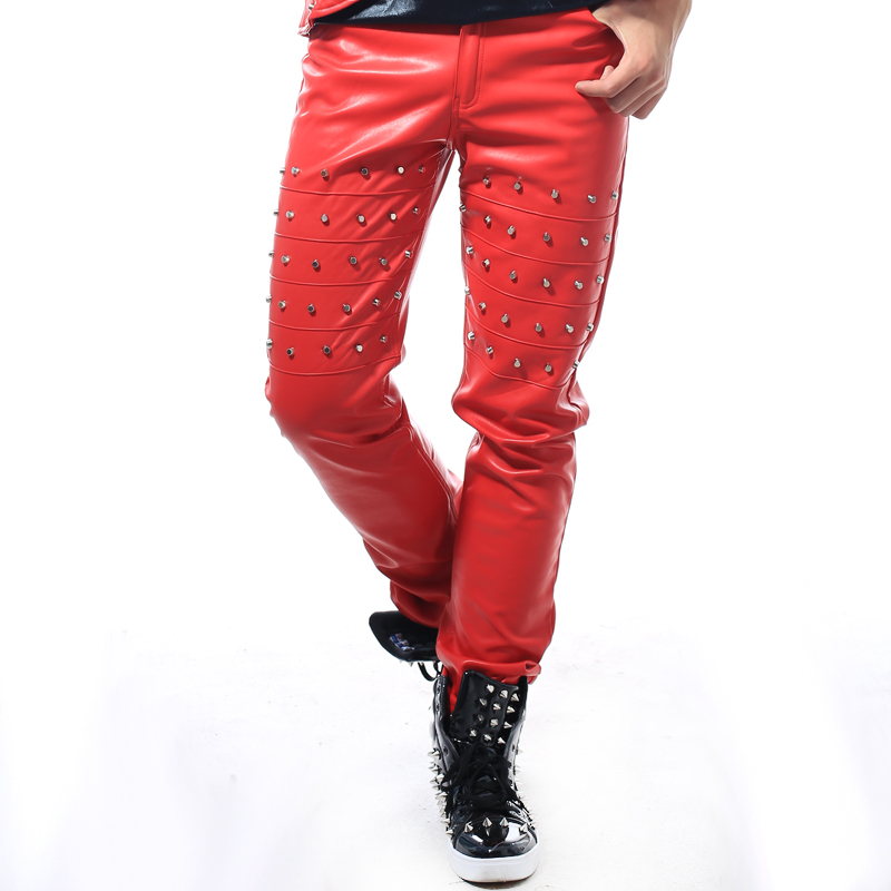 Plus size 28-40 leather rivets pants 4 color punk male ds stage show trousers men dj singer night bar performance costumes