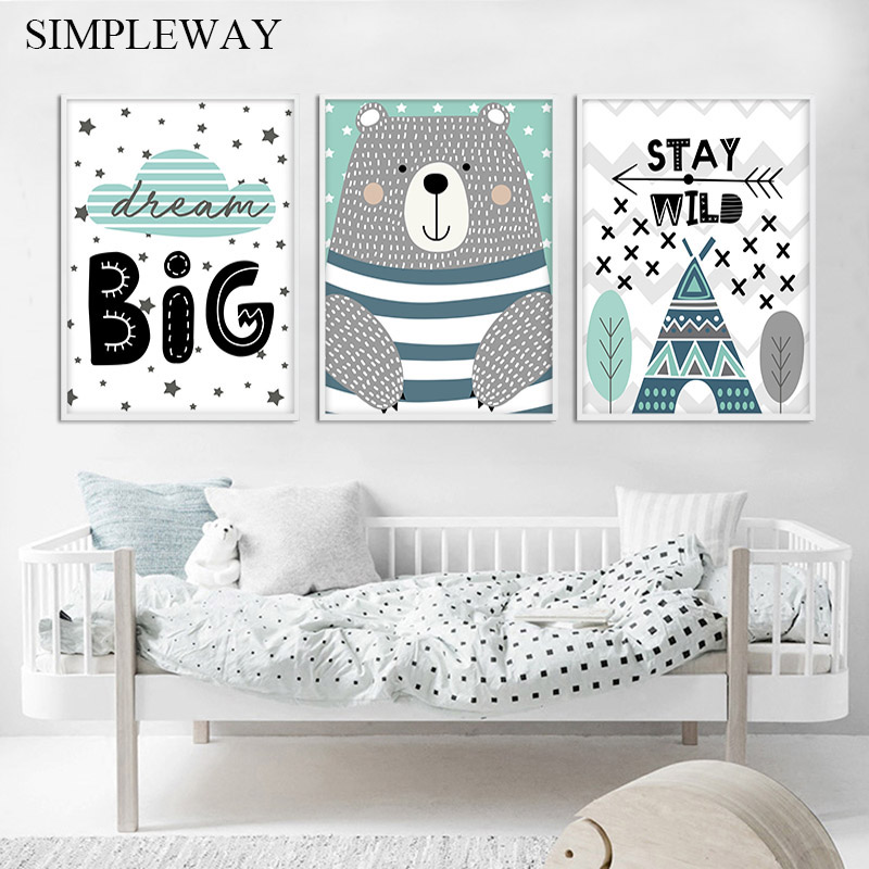 Dream Big Quotes Bear Canvas Poster Nursery Wall Art Print Painting Nordic Kids Decoration Picture Baby Bedroom Decor