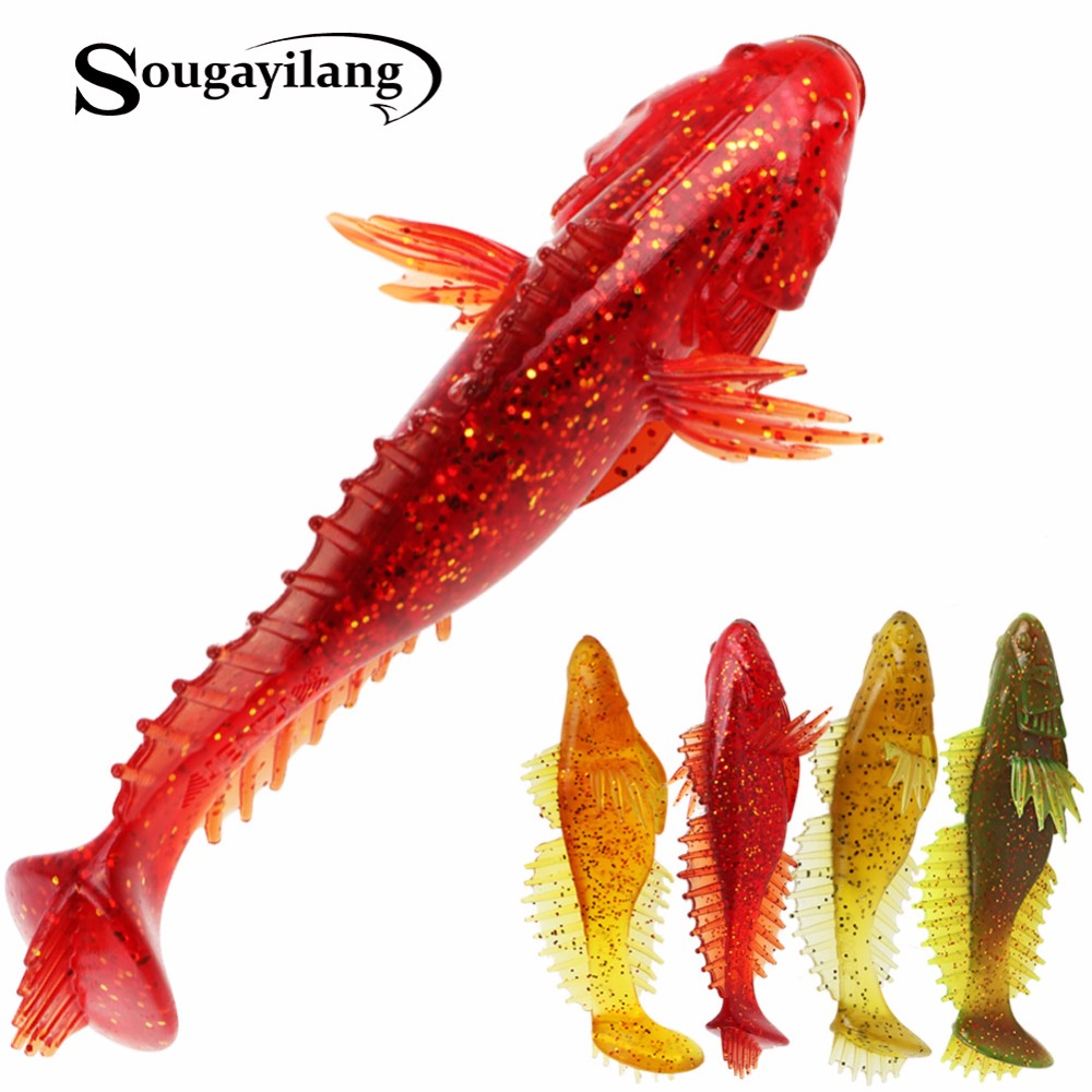 Sougayilang Soft Bait Jig Head Soft Lure 4pcs/lot Handmade Soft Fishing Lure T Tail Lure Fly Fishing Bait Lure 11cm/20g De Pesca