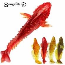 Sougayilang Soft Bait Jig Head Soft Lure 4pcs/lot Handmade Soft Fishing Lure T Tail Lure Fly Fishing Bait Lure 11cm/20g De Pesca