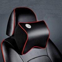 Car Leather Neck Pillow Super Soft Space Memory Foam Auto Seat Cover Head Neck Rest