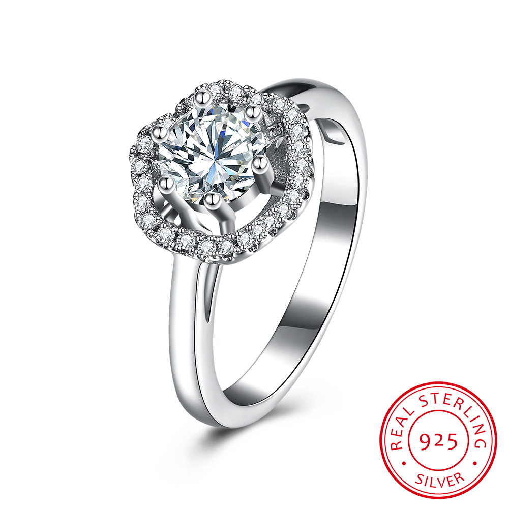 Love-Rings Engagement Jewelry Zircon Accessorise 925-Sterling-Silver Women for Luxurious
