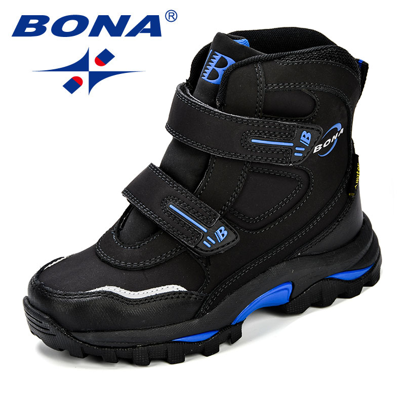 BONA Winter Popular Style Boys Boots Ankle Leather Durable Outsole Children's Shoes Warm Comfortable Snow Boots For Boys Kids